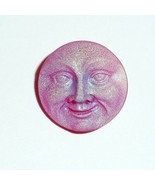 Red & Luna Matte Czech Glass Shank Moon Face Button 18mm - Red & Luna Matte - $6.43