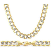 6.9mm Cuban Curb Sterling Silver 14k Yellow Gold Men Link Italian Chain Necklace - $136.09+