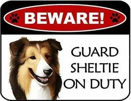 Beware Sheltie On Duty Laminated Dog Sign SP3127 - $8.86