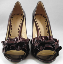 Enzo Angiolini Eamielee Patent Leather Ruffle Stiletto Heels Pumps Coppe... - $35.95