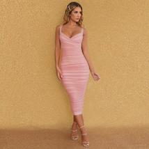 New Arrival Women Spaghetti Strap Bandage Dress Bodycon Night Club Party Dress image 2