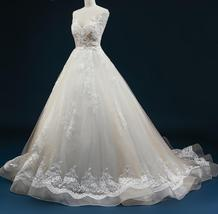 Court Train A-Line Applique Beaded Sheer Lace Tulle Wedding Gown image 5