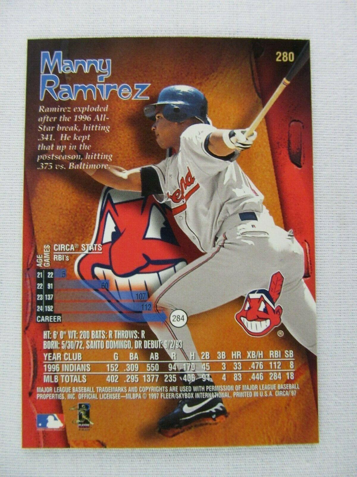 Manny Ramirez Cleveland Indians 1997 Circa Fleer Baseball Card 280