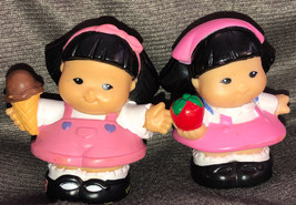Fisher Price Lot Of Two Chinese Japanese Girl Twins Cute W/icecream Appl... - $19.79
