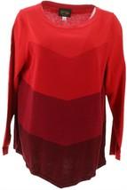 Bob Mackie Chevron Intarsia Sweater Red XL NEW A344693 - $32.65