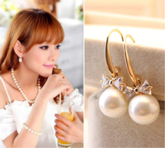 2018 high quality fashion  earrings  large pearl bow bride earrings jewelry - $11.99