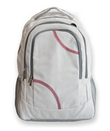 Sport Backpack Actual Baseball Leather Red baseball stitching fully padd... - $74.24
