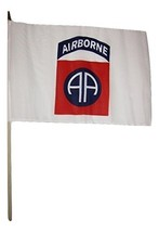 ALBATROS 12 inch x 18 inch Pack of 12 82nd Airborne White Stick Flag wit... - $64.24