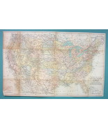 "1899 MAP by Baedeker 12 x 19.5"" - United States Political & Physical Rai... - $16.20"