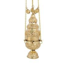 High Polished Brass Christian Church Thurible Incense Burner Censer (375 B) - $93.63