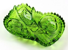 Vintage Green Cut Glass Saw Tooth Hexagon Center Candy Nut Dish Trinket ... - $26.72