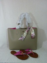 NWT Tory Burch French Gray/Dark Peony Pink Perry Tote + THORA Sandals Sz... - $490.05