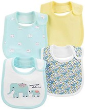 Carter's Baby Girls 4-Pack Teething Bibs with Water Barrier Elephant - $25.14
