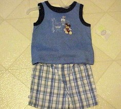 MICKEY MOUSE BABY OUTFIT BOYS 3-6 MO TANK TOP PLAID SHORTS NEW DISNEY - $12.38