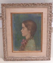 EXQUISITE ANTIQUE OIL ON CANVAS PORTRAIT OF A YOUNG GIRL SIGNED BY ARTIST - $2,500.00