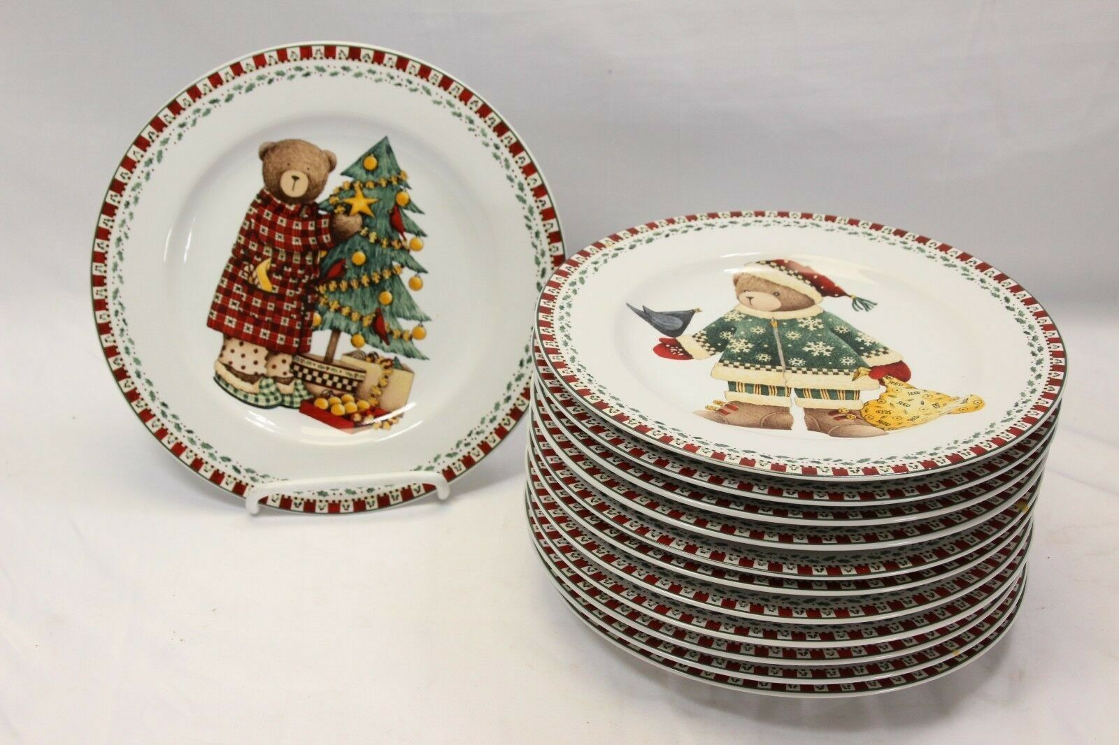 "Primary image for Sakura Xmas Bears Salad Plates 8.25"" Set of 12  4 different patterns"