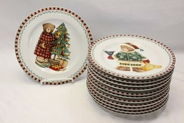 "Sakura Xmas Bears Salad Plates 8.25"" Set of 12  4 different patterns - $84.27"