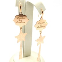 Silver Earrings 925 Laminated in Rose Gold le Favole with Magic Wand image 2