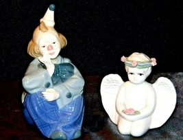 Porcelain Figurines Clown and Angel Pair AA19-1524 Vintage
