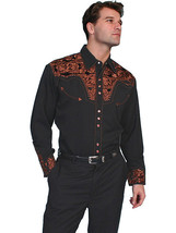 Men's Western Shirt Long Sleeve Rockabilly Country Cowboy Copper Floral ... - $87.38