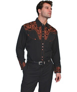 Men's Western Shirt Long Sleeve Rockabilly Country Cowboy Copper Floral ... - $87.79
