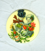Shades of the 1950's  Happy Couple Celebrating the Christmas Season Mini... - $7.99