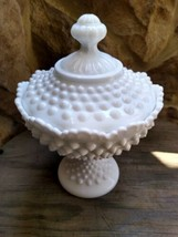 Fenton Pre logo 8.5 inches tall Candy dish Milk Glass Hobnail Covered Fo... - $23.90