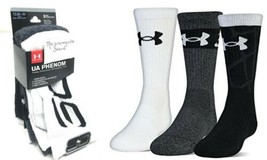 Under Armour Phenom 2.0 Youth Crew Socks 3 Pack Small 13.5-4Y Boys Baske... - $15.83