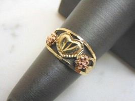 Womens Vintage Estate 10K Gold w/ Rose Gold Floral Heart Ring 1.6g #E3078 - $119.99