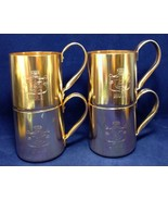 Lot of 4 Vtg SMIRNOFF MULE Moscow Copper Aluminum Cups Mugs - $19.79
