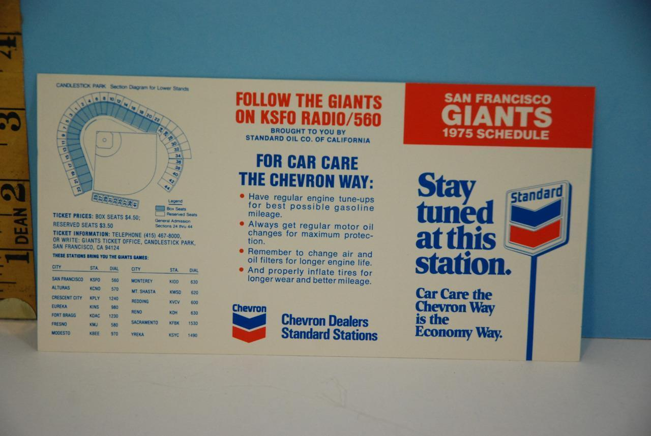 Primary image for 1975 Chevron - San Francisco Giants Pocket Baseball Schedule Near Mint