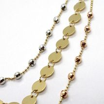 18K YELLOW WHITE ROSE GOLD STRAND NECKLACE, MULTI THREE WIRES WITH DISCS & BALLS image 3