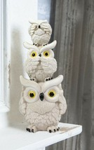 Cream Colored Stacked See Hear Speak No Evil Wise Fat Owls Figurine Owl ... - $19.99