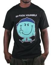 In4mation Fu$k Yourself Flipping Middle Finger Skateboard Men's Black T-Shirt NW image 1