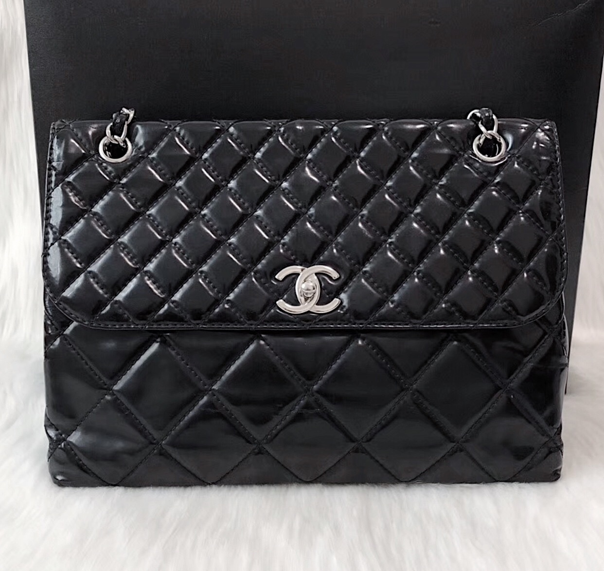 Authentic Chanel Black Patent Quilted Vinyl In The Business Maxi Flap Bag SHW