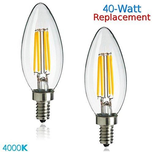 Luxrite Lr21250 2 Pack 4w Led Filament Candelabra Bulb