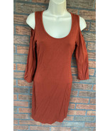 Orange Cold Shoulder Dress Small Stretch 3/4 Sleeve Body Con Fitted Shea... - $9.80