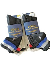 Polo Ralph Lauren 6 Pair men's Black grey white Crew Socks 10-13 - $30.25