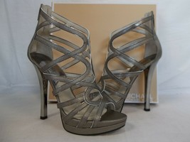 Michael Kors 10 M Tatianna Nickel Leather Open Toe Heels New Womens Shoes - $107.91