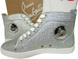 Sz 35 Christian Louboutin Silver Glitter Sneakers High Top Athletic Shoe... - $529.00