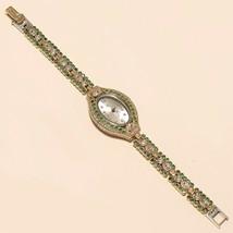 Women Emerald White Topaz Wrist Watch 925 Sterling Silver Valentine Jewe... - $46.45