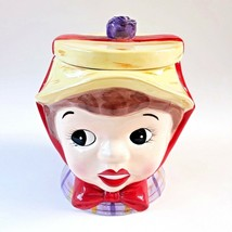 Lefton 2003 Miss Dainty Cookie Jar Yellow Hat Red Bow Purple Rose - $49.99