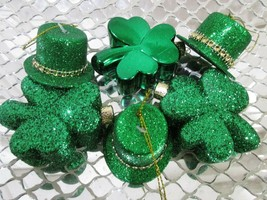 St Patrick's Day Green Shamrocks & Hat Ornaments Decorations Decor Set of 6 - $19.99