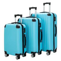 Luggage 3 Piece Set Suitcase Spinner Hardshell Lightweight TSA Lock Blue - $114.17
