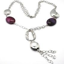 Silver 925 Necklace, Jade Purple, Chain Multiple Strings, Pendant Cascade, Drop image 1