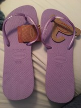New Havaianas Flat Flip Flops Womens Sandals Shoes  11/12Thin Strap Lila... - $22.14