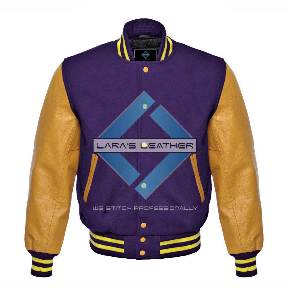 Primary image for Top College Baseball Varsity Purple Wool Jacket/Gold Real Leather Sleeve XS-4XL