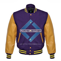 Top College Baseball Varsity Purple Wool Jacket/Gold Real Leather Sleeve... - $92.99