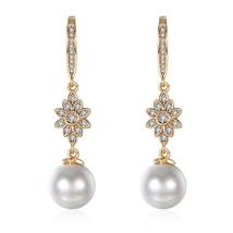 18K Gold Plated Swarovski Crystal Snowflake Pearl Drop Earrings - $19.59