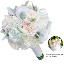 White ivory rose peony Wedding bridal bouquet Artificial hand holding fl... - $50.00